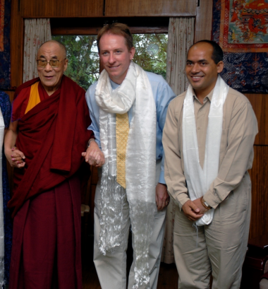 The Dalai Lama XIV, Charles Raison and Geshe Lobsang Tenzin Negi in India